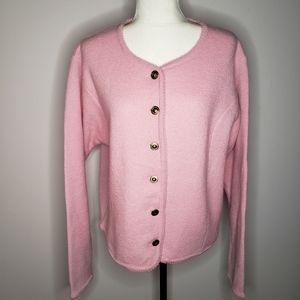 Tally Ho light pink 100%wool sweater/cardigan  XL